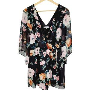 Bailey Blue Floral Surplice Romper Sheer Kimono Lg